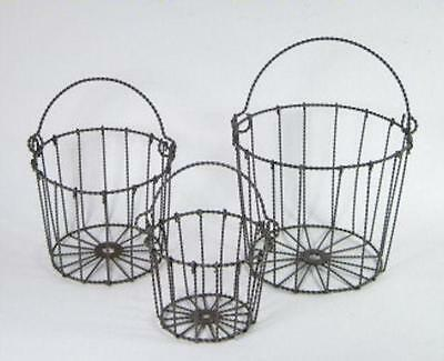 Metal Twisted Wire Baskets Set of 3 Organizer Holder Rustic Country Style