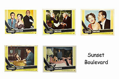 Sunset Boulevard  - Set Of 5 A4 Sized Reprint Lobby Posters # 1