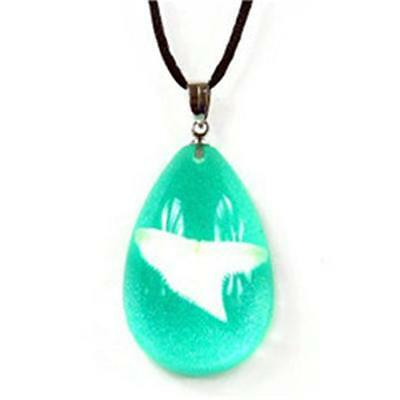 Ed Speldy East Tear Drop Necklace with Real Shark Tooth with Green in Acrylic
