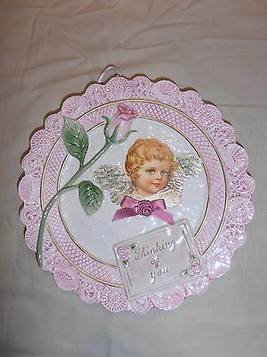 """1994 Omnibus Fitz and Floyd """"Thinking of you"""" Victorian Rose Plate Retired EUC"""