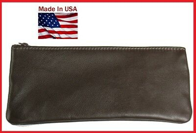 USA XL Real Brown Leather Pipe Tobacco Pouch - MADE IN THE USA!