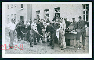 vintage photo GROUP OF YOUNG MEN GERMAN SOLDIERS WASHING CLOTHES WWII 1940s