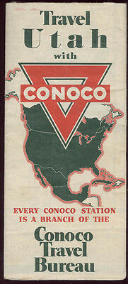 1930 Conoco Map Of Utah * Complete * Free Ship To Usa Map39
