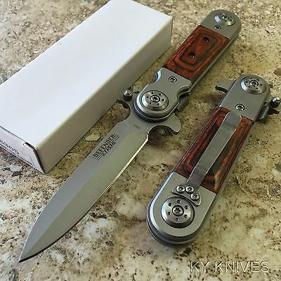 """8"""" Stiletto Style Tactical Spring Assisted Open Pocket Knife Wood 6305 zix1"""