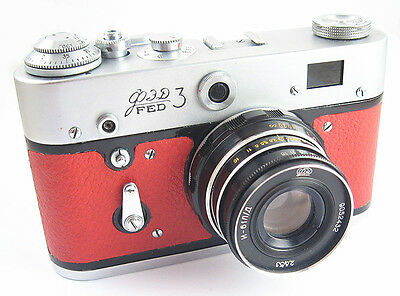 FED 3 Russian Leica Copy Camera EXCELLENT Industar-61LD Lens EXC RED
