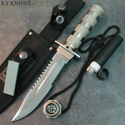 """10.5"""" Military Style Silver Survival Hunting Knife With Sheath & Kit 5815 zix"""