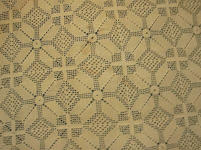 "ANTIQUE BEIGE HAND CROCHETED TABLECLOTH with PINWHEEL & FLOWER BORDER 68"" X 98"""