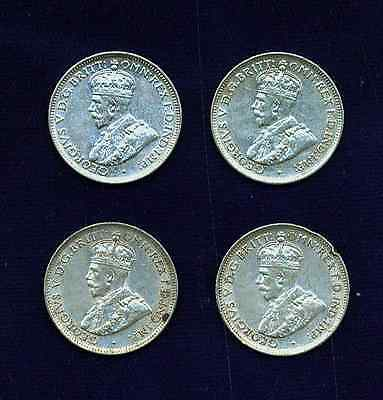 AUSTRALIA GEORGE V  1927-M   6 PENCE  SILVER COINS, GROUP LOT OF  (4)