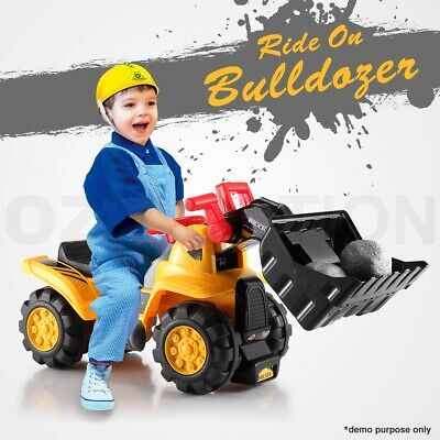Kids Ride On Toy Car Bulldozer With Seat Storage and Accessories Pretend Play