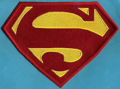"7"" x 10"" Large Red & Yellow Fully Embroidered Superman Chest Logo Patch"