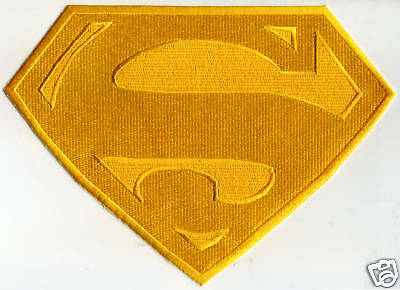 "7"" x 10"" Large Fully Embroidered All Yellow Superman Cape Back Logo Patch"