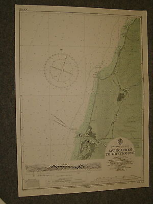 Vintage Admiralty Chart NZ7142 NEW ZEALAND - APPROACHES TO GREYMOUTH 1966 edn