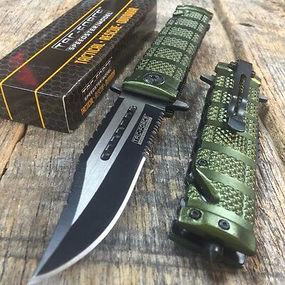 TAC FORCE Spring Assisted Open GREEN Sawback Bowie Rescue Tactical Pocket Knife