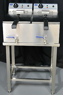 NEW ACE Double Commercial Electric 10L Deep Fat Fryer on Stand with Taps 2x3kw