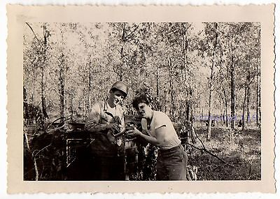 Vintage Photo Unusual Handsome MEN WWII Army Soldier SHARES CANTEEN Old 1940s