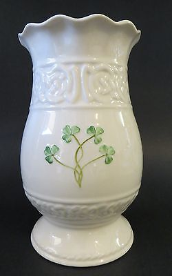 "BELLEEK TARA PORCELAIN VASE SHAMROCK CLOVER 7.5"" TALL BROWN MARK St. Patrick's"