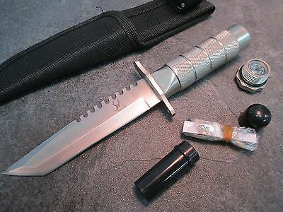 """8"""" Tanto  Silver Survival Knife With Survival Kit & Sheath 5221 zix"""