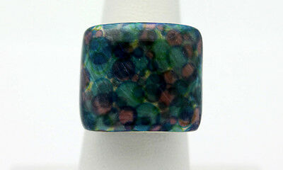 Sterling Silver .925 Chunky Diochroic Glass Fashion Adjustable Ring 13.3g #8693