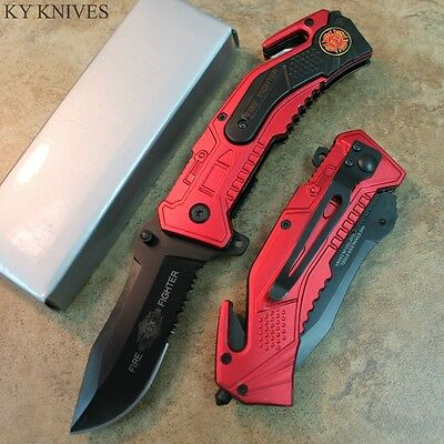 """8"""" Fire Fighter Tactical Assisted Open Rescue Pocket Knife NEW SE-910FD zix"""