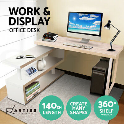 Office Computer Desk Corner Table w/Bookshelf Veneer Home Rotary 140CM Length