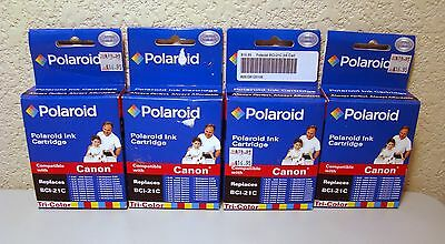 Lot of 4 Sealed BCI-21C Tri-Color Polaroid Ink Cartridge for Canon