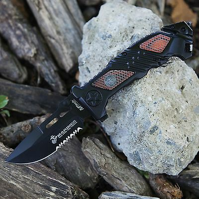 "8.25"" USMC MARINES TACTICAL POCKET SPRING ASSISTED KNIFE Blade Folding Switch"