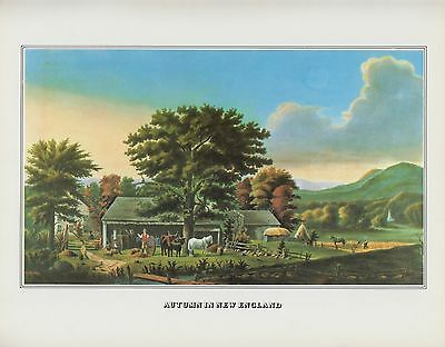 """1978 Vintage """"AUTUMN NEW ENGLAND"""" CIDER MAKING CURRIER & IVES COLOR Lithograph"""