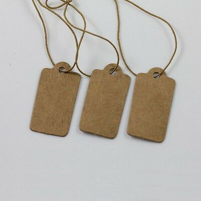 Wholesale 100Pcs Jewelry Price Label Tags Blank Kraft Paper Elastic String 30mm