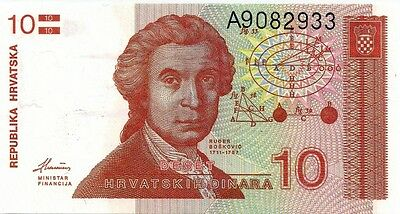 CROATIA 1991 10 DINARA BANK NOTE  in a Protective Sleeve
