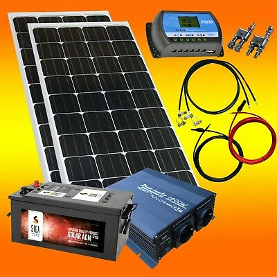 100watt garten camping solaranlage 12 volt set spannungswandler solarbatterie eur 145 90. Black Bedroom Furniture Sets. Home Design Ideas