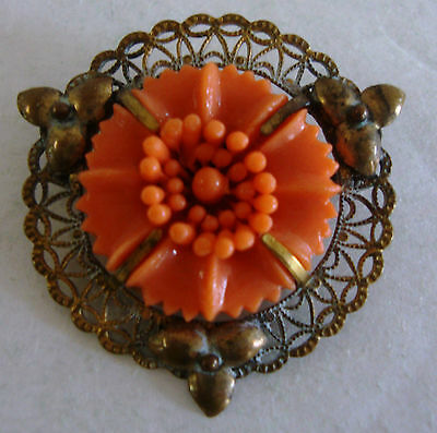 Vintage Celluloid and Brass Brooch/ Pin~ Gold Tone ~Signed Whiteco