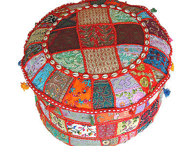 Indian Pouf Ottoman Multicolor Patchwork Big Round Fabric Hassock Cover