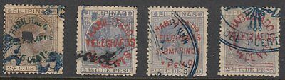 (G0543) PHILIPPINES - FILIPINAS. 5 OLD TELEGRAPH STAMPS. NICE SELECTION