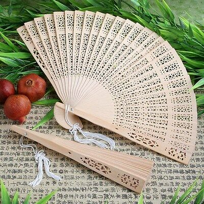 100 Beautifully Carved Sandalwood Fans Wedding Party Favors
