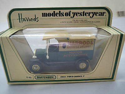 Vintage Diecast Matchbox MODELS OF YESTERYEAR Y12 1922 Ford Model T Harrod's