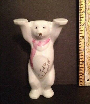 Frohe Weihnachten (Merry Christmas) KPM porcelain Bear figurine with pink scarf