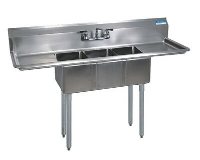Stainless Steel (3) Three Compartment Sink 60 x 20 with Faucet Included