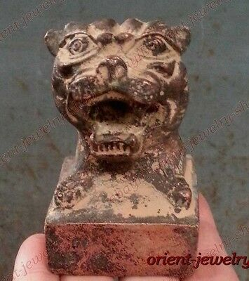 China Archaic Old Bronze statue Rare Signed carvings tiger seal
