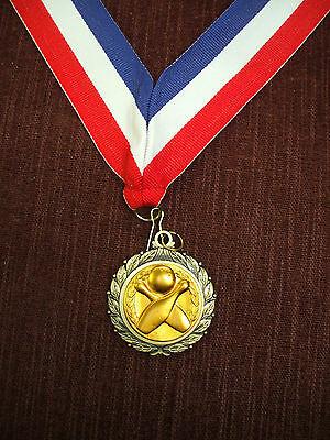 bowling pins and ball medal gold with wide neck drape trophy