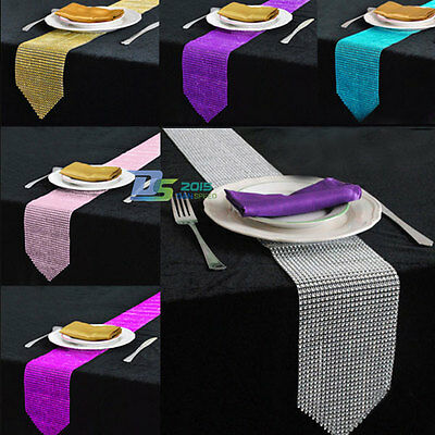 Wedding Sparkly Diamond Mesh Bling Party Xmas Banquet Table Runner Decoration