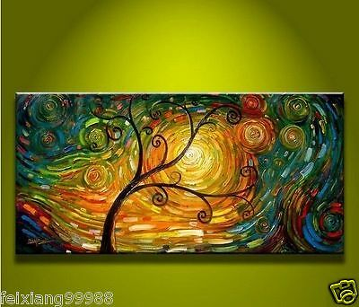 MODERN ABSTRACT HUGE WALL ART OIL PAINTING ON CANVAS -Tree of Life 24x48