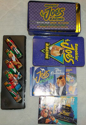 """Camel Cigarettes Smokin' Joe's Racing Tin"""" w Unopened 50 Pack Matches & Lighters"""