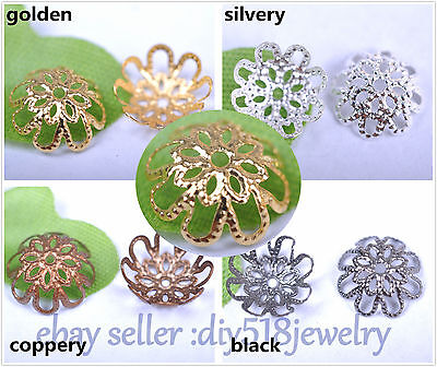 100 Piece 10/12/16mm Flower Bead Caps Spacer Gold Silver DIY Jewelry Making 3002