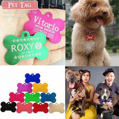 New Cute Double Side Engraved Bone Shape Pet Dogs Tag Cat Tag Pet ID Name Tags