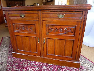 SOLID WOOD 1940s SIDEBOARD - POSS TEAK - WITH CARVED DETAIL AND BRASS HANDLES