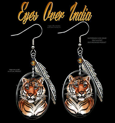 BENGAL TIGER EARRINGS - EYES OVER INDIA WILDLIFE ART - JEWELRY GIFT SALE  #HKF x