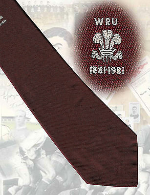 Welsh Rugby Union Centenary 1981 - 10 cm, maroon - RUGBY TIE