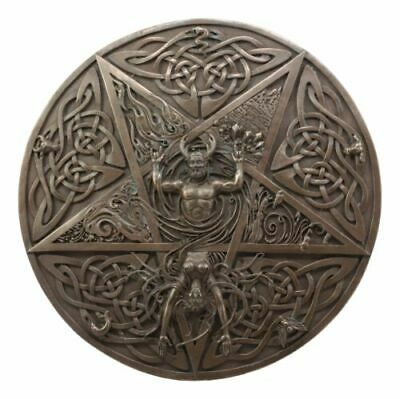 The Horned God & Goddess Elemental Celtic Knotwork Pentacle Wall Plaque  Figure