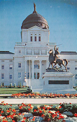 Montana Helena State Capitol Building Gen Meagher Statue 1950s Vintage Postcard