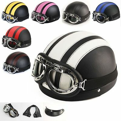 New Motorcycle Half Open Face Leather Helmet With Sun Visor and Goggles